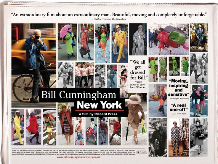 In 2010, filmmaker Richard Press and Philip Gefter of The Times produced Bill Cunningham New York, a documentary about Cunningham. The film was released on March 16, 2011. It shows Cunningham traveling through Manhattan by bicycle and living in a tiny apartment in the Carnegie Hall building.