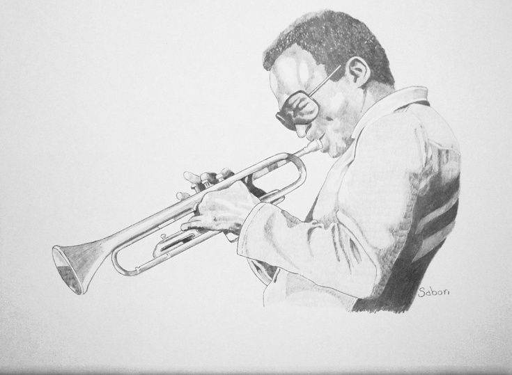 ARTFINDER: JAZZ GREAT - Miles Davis by Andrew Sabori - Miles Davis was an American jazz musician, trumpeter, bandleader, and composer. Widely considered one of the most influential musicians of the 20th century. SOLD (to me) an exceptional sketch (in Spain, perhaps?)