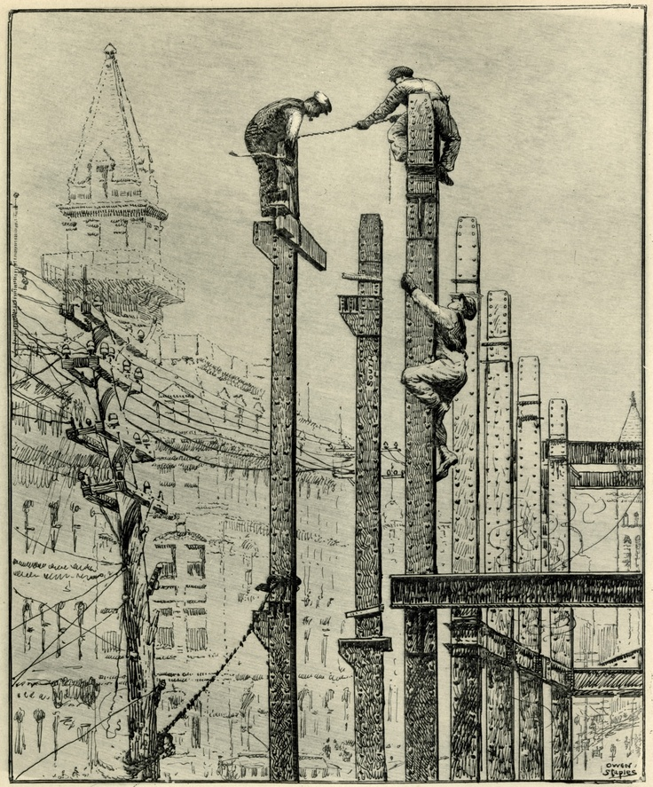 This picture, showing the construction of the Union Bank at the south east corner of Bay and King, appeared in the Toronto Evening Telegram on April 4, 1910. It was drawn by the celebrated Canadian artist Owen Staples.