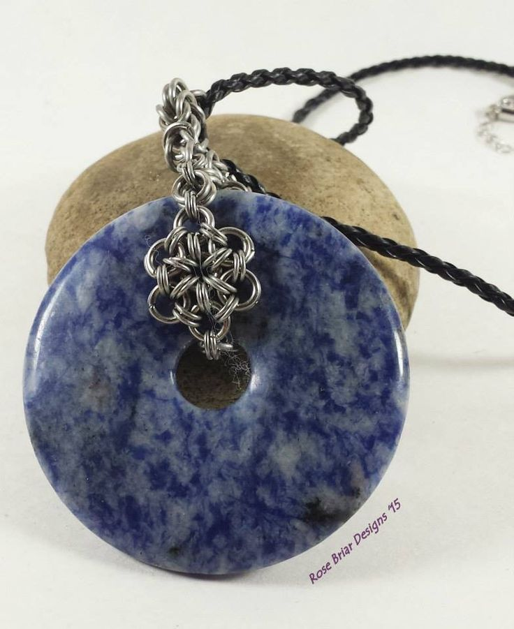 Chainmaille lapis donut in stainless steel by RoseBriarDesigns on Etsy