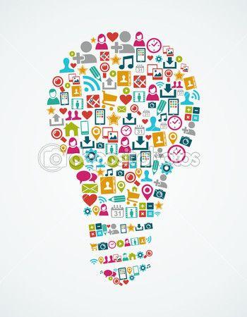 Social media icons isolated idea light bulb EPS10 file. — Векторная картинка #31498241