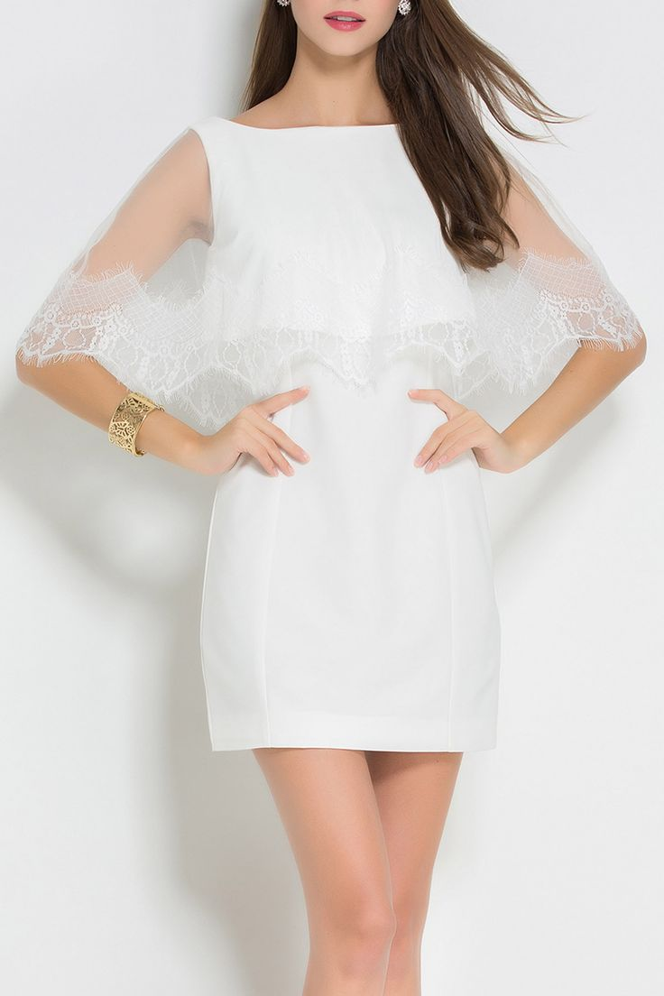 Feinuo color blanco Mini vestido capelet | Mini vestidos en DEZZAL