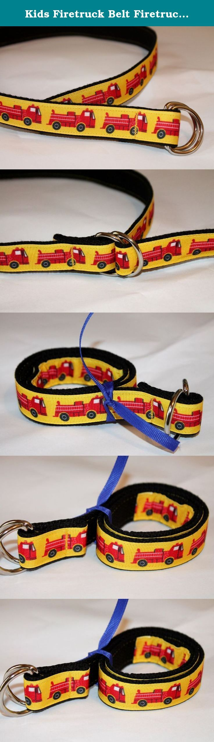 Kids Firetruck Belt Firetruck Belt Fire Engine Belt Boys D Ring Belt Kids Yellow Belt Kids Fireman Birthday Belt. Firetrucks for boys of all sizes. I have decided to add more boys belt to the collection since my 3 sons are always asking for their own. This belt can worn over clothes or just to hold up those baggy pants. Belt has black webbing with firetruck ribbon stitched to it. Ribbon is wrapped around the end so it shows when worn.