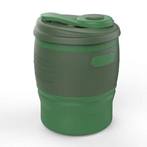 Collapsible Coffee Cup MoKo 350ML Portable Leakproof Coffee Mug with Lid BPA Free Silicone 12 oz Reusable Travel Mug Foldable Tea Cup for Traveling Camping School Outdoors Army Green ** Find out more about the great product at the image link.