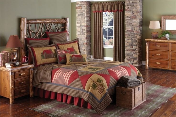 """Country Cabin 3PC QUEEN Size Quilt SET 94"""" x 94"""" Rustic Lodge Pinecone Bedding   #parkdesign #countryprimitiverusticcottagelodge"""