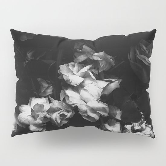 Dramatic, moody floral pillow shams, beautiful black and white flowers. Romantic interior design ideas!