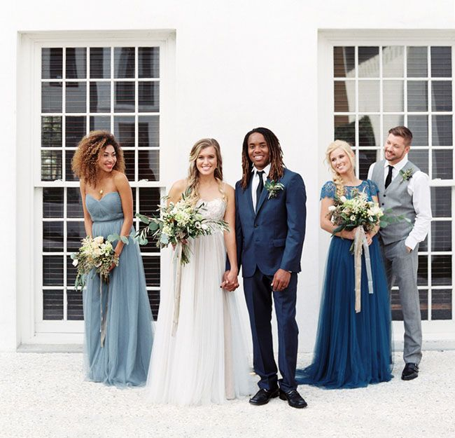 Wintery blue bridesmaid dresses