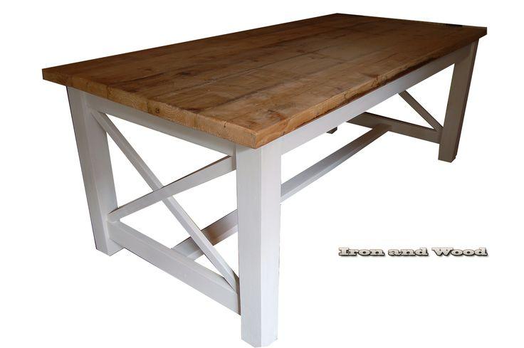 """landelijke / brocante eettafel kloostertafel model """"Marseille"""" van Iron and Wood www.ironandwood.nl"""