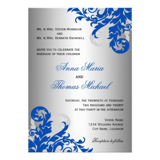 Royal Blue And Silver Flourish Wedding 5x7 Paper Invitation Card