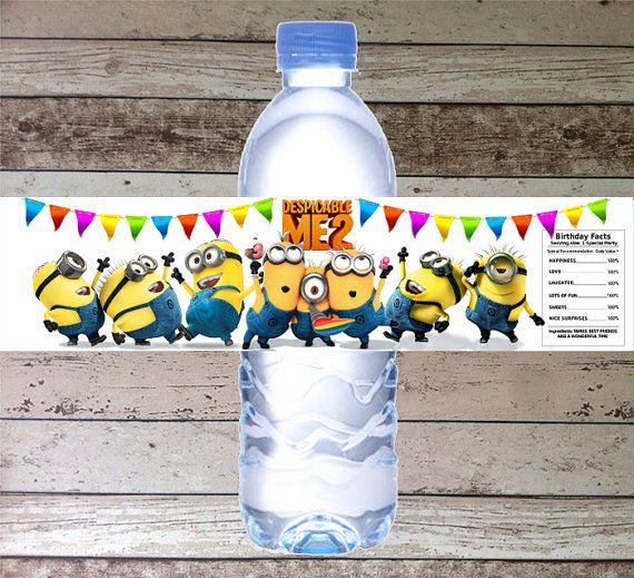 INSTANT DOWNLOAD Despicable me Printable Birthday Party Water Bottle Label, Digital Pdf File Despicable me Party Theme via Etsy