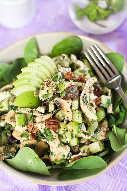 Poached Chicken, Green Apple and Goats Feta Salad | The Healthy Foodie
