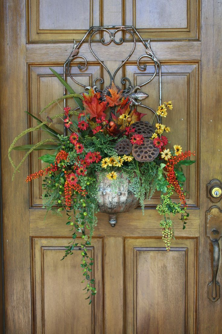 763 best images about door basket on pinterest wall Spring flower arrangements for front door