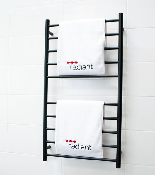Radiant Round BRTR02 600 x 1100mm Black Heated Towel Rail - ABL Tile Centre