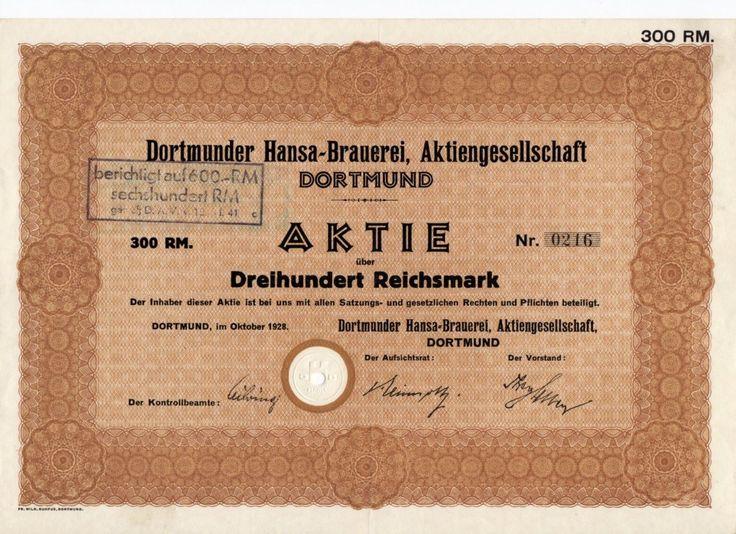 Aktie Dortmunder Hansa-Brauerei, Aktiengesellschaft, 300 RM Dortmund, 1928