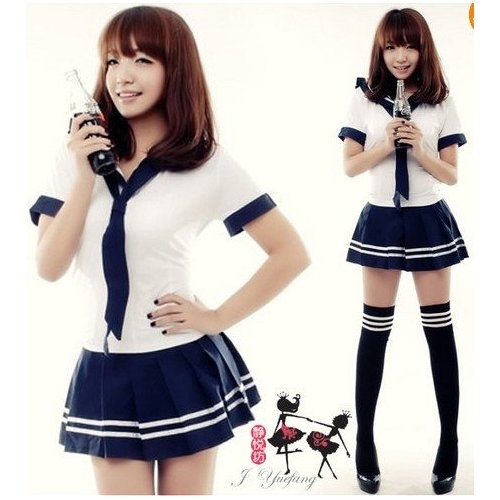 Amazon.com: New Cute Sexy Japanese School Girl Sailor Uniform Cosplay Costume 3 Size: Toys & Games