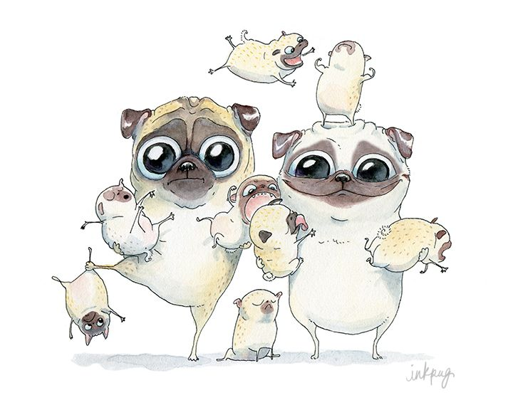 Pug Family! Big Smile.