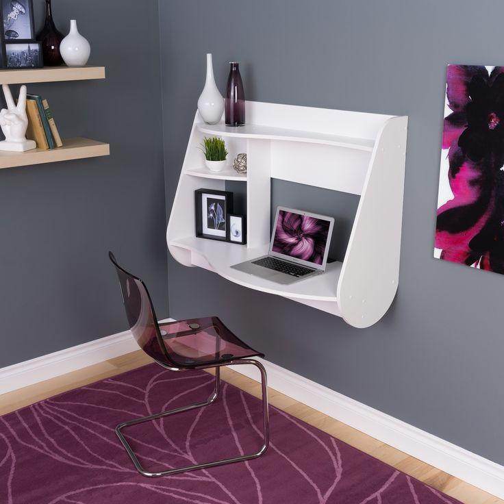 Prepac White Kurv Wall Mounted Floating Desk With Storage