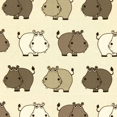 Cotton Happy Hippo 1 - Bomuld - beige
