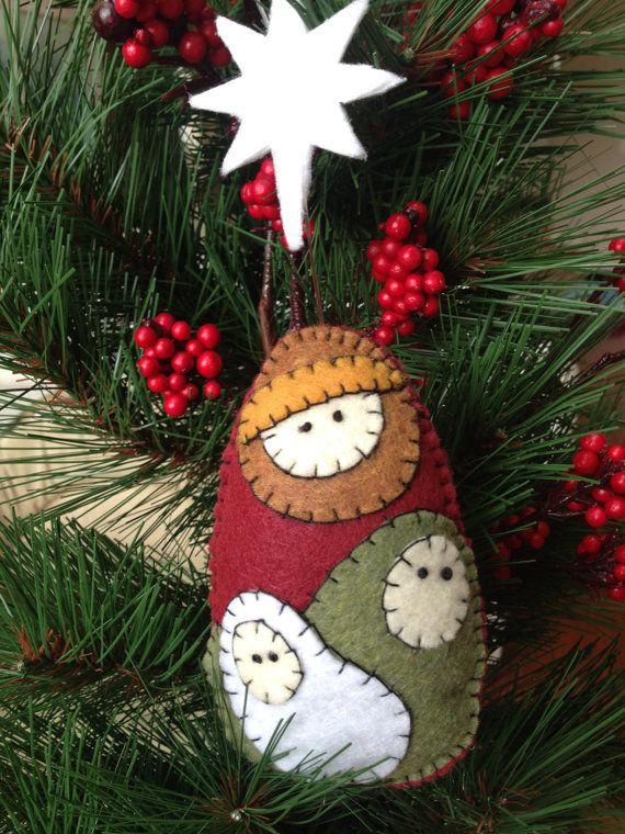 Felt Nativity Christmas Ornament Mary Joseph and baby Jesus Holy Family