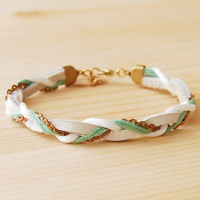 leather & brass braided bracelet