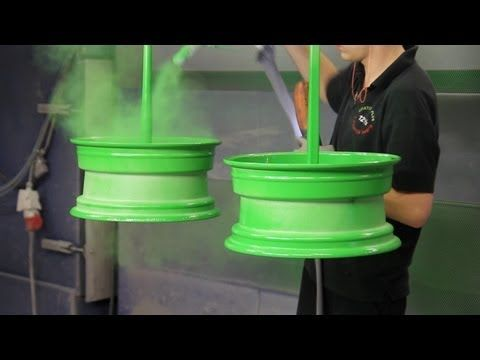 Powder Coating wheels like a BOSS Ral 3020 with pearlscent laquer - YouTube