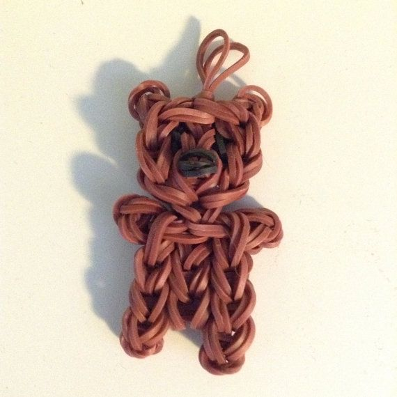 Rainbow Loom Rubber Band Teddy Bear Charm by ilovevintagestuff