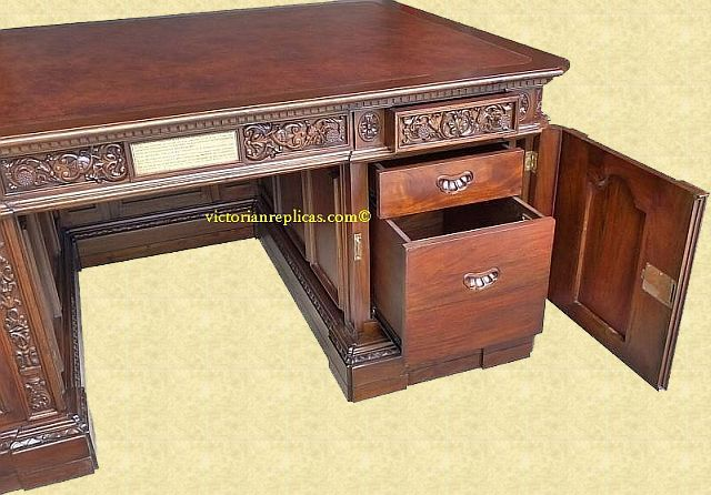 Rear of Resolute Desk replica showing drawers