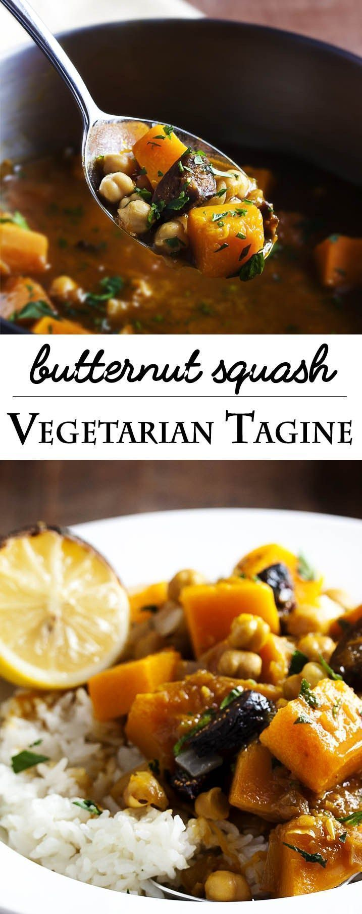 Vegetarian Butternut Squash Tagine - Need a quick vegetarian entree? You won't miss the meat in this flavorful and rich tasting vegetarian butternut squash tagine. It's sweet and spicy and yummy. And it's vegan so long as you skip the optional yogurt! | justalittlebitofb...