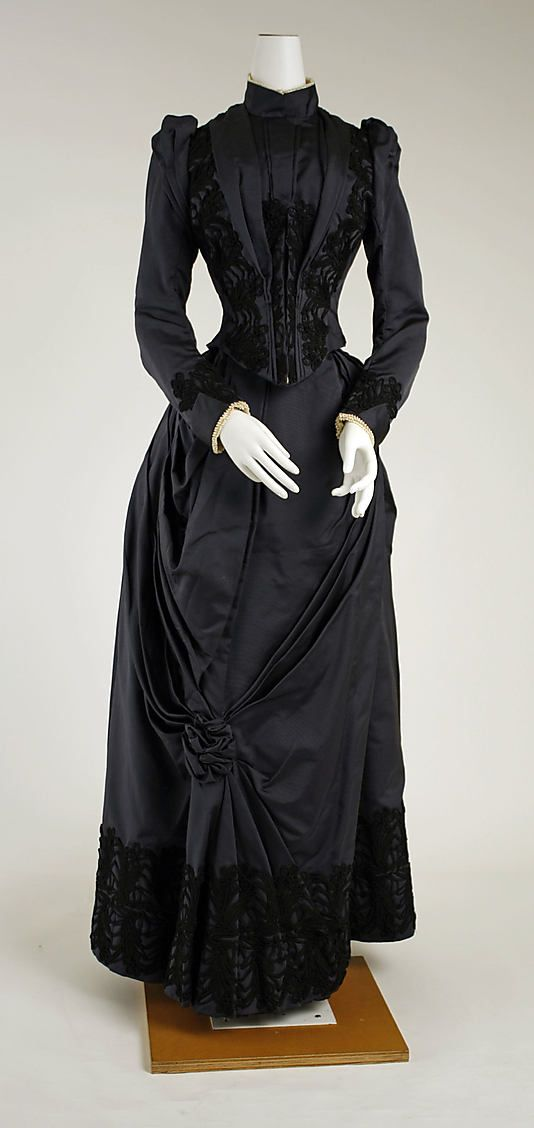 Dress, black  Date: 1888–89 Culture: American or European Medium: silk  Metropolitan Museum of Art  Accession Number: C.I.63.23.4a, b