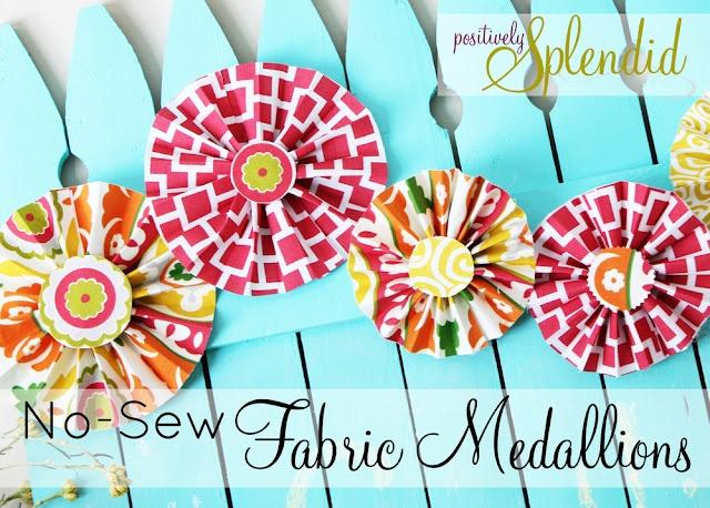 No-Sew Fabric Medallion TutorialMedallions Tutorials, Fabrics Flower, Splendid Crafts, Positive Splendid, Fabrics Medallions, Home Decor, No Sewing Fabrics, Nosew Fabrics, No Sewing Crafts