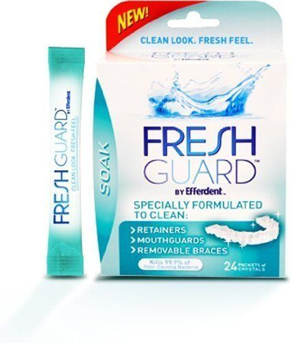 #manythings #Fresh Guard by Efferdent in Soak (24 Packets of Crystals Per Box). Specially Formulated to Clean: Retainers, Mouthguards, & Removable Braces. Kills ...