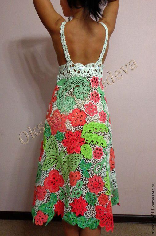 Купить Летнее платье сарафан вязаный крючком ирландия Листья и цветы - вязаное крючком платье