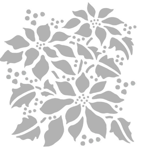 "Christmas Stencil - Poinsettia Blossoms - 6"" x 6"""