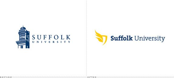 Suffolk University Logo, Before and After