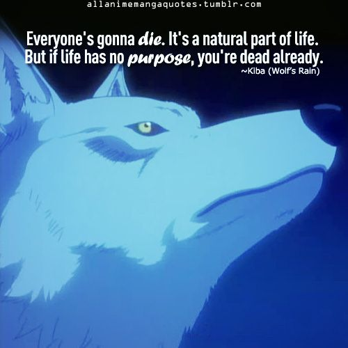"""Everyone's gonna die. Its a natural part of life. But if life has no purpose, you're dead already""~Kiba, Wolf's Rain  I love this quote<3"