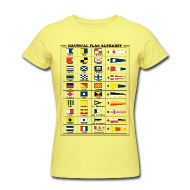 Magliette ~ Maglietta da donna, American Apparel ~ T-Shirt da donna - Alfabeto Bandiere Nautiche