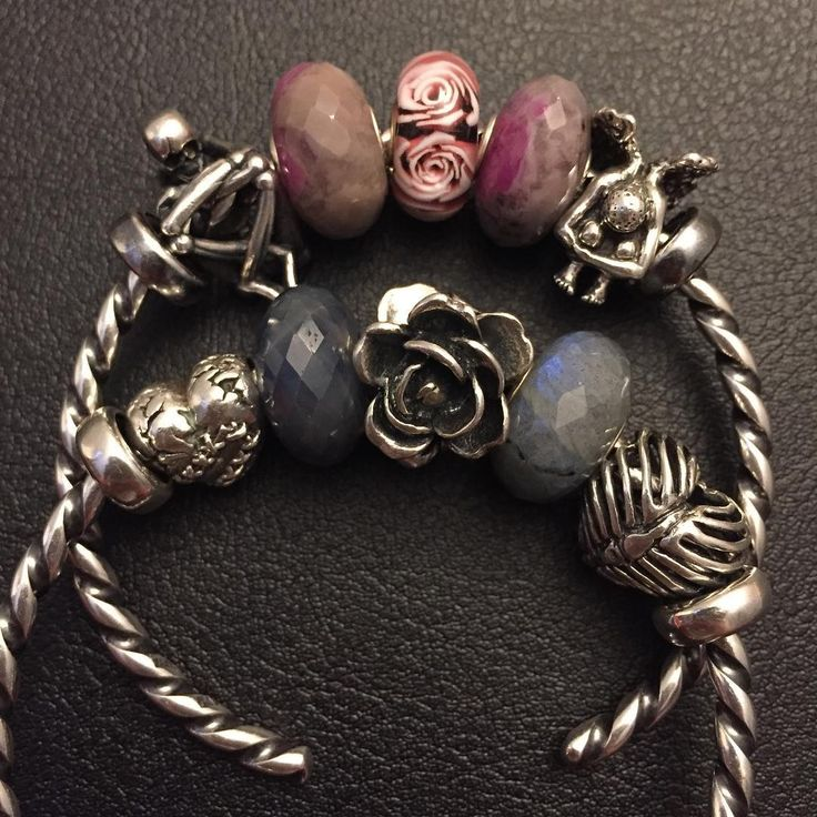 "Gefällt 137 Mal, 1 Kommentare - Annmarie (@am61778) auf Instagram: ""What I'm wearing tomorrow #wiwt #ohmbeads #trollbeads #hearts #roses #skeleton #angel #ruby…"""