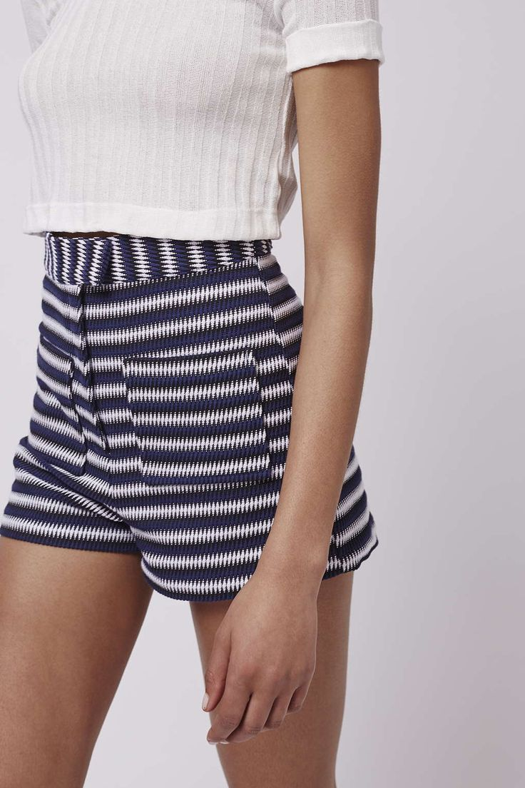 Whether you're dreaming of a city break or long balmy beach vibes, these high waisted stripe shorts feautring 70s chevron stripe are a vacation essential. #Topshop