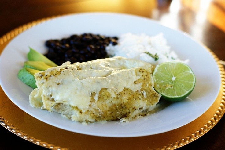 Chicken Enchiladas Verdes with Black Beans and Cilantro Lime Rice: YUM ...