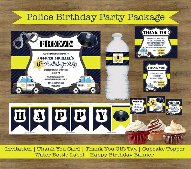 happy birthday invitation pictures%0A Police Party Printables  Police Birthday Party Package  Police Officer Party   Police Birthday Invitations