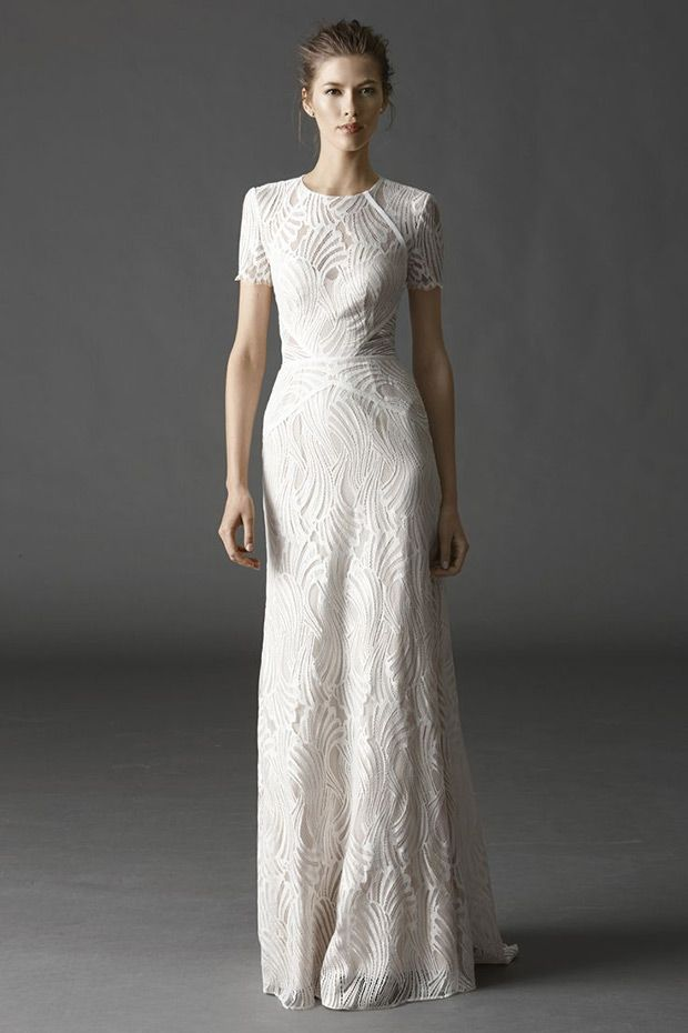 Watters Bridal Spring 2015 Collection Modern Sheath Beilin Gown | www.onefabday.com