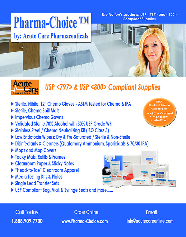 Acute Care Pharmaceuticals - Pharma-Choice (as seen in the 20Ways Winter 2017 Hospital & Infusion Issue).