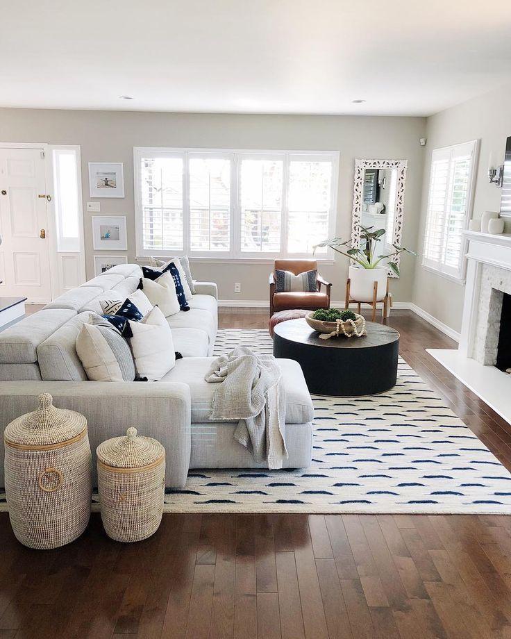 Simple Neutral Tone Living Room Hardwood Floors Light Gray Sofa Farm House Living Room Living Room Sofa Design Farmhouse Decor Living Room