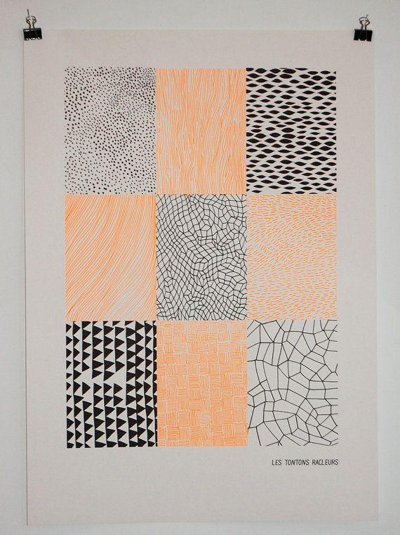 Poster pattern neon orange & brown 50x65cm by lestontonsracleurs, €18.00