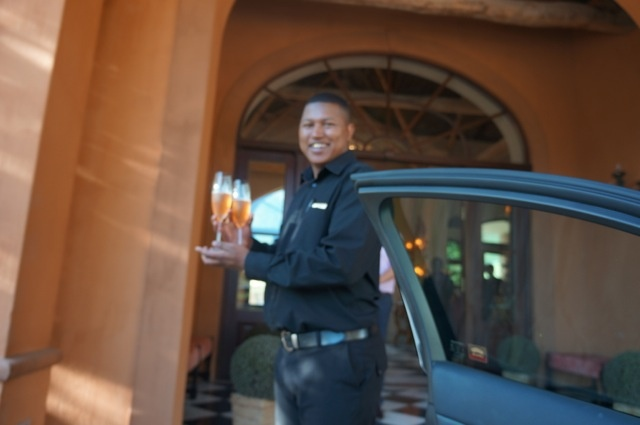 The minute we drove up to the beautiful La Residence in Franschhoek, the staff was waiting with glasses of bubbly.