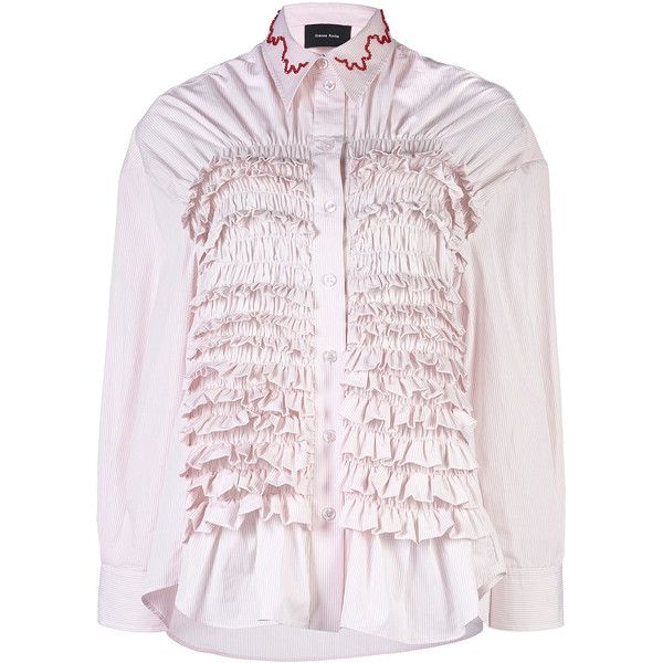 Simone Rocha Beaded Embroidered Smocked Shirt (3998390 PYG) ❤ liked on Polyvore featuring tops, stripe, collared shirt, stripe top, pink striped shirt, cotton collared shirt and cotton shirts