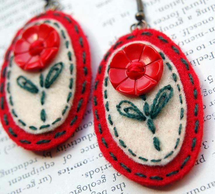 Felt embroidered earrings