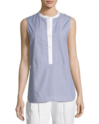 Poplin Striped Shell Top, Blue/White by Vince at Neiman Marcus Last Call.
