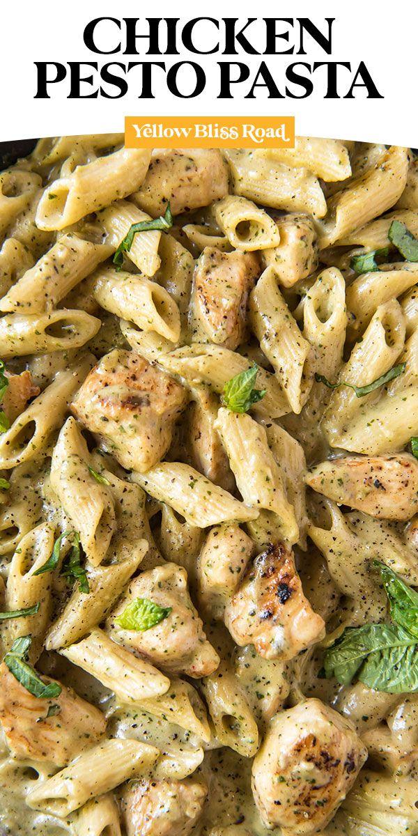 Creamy Chicken Pesto Pasta Yellowblissroad Com Recipe Pesto Chicken Pasta Creamy Pesto Chicken Pasta Chicken Dinner Recipes
