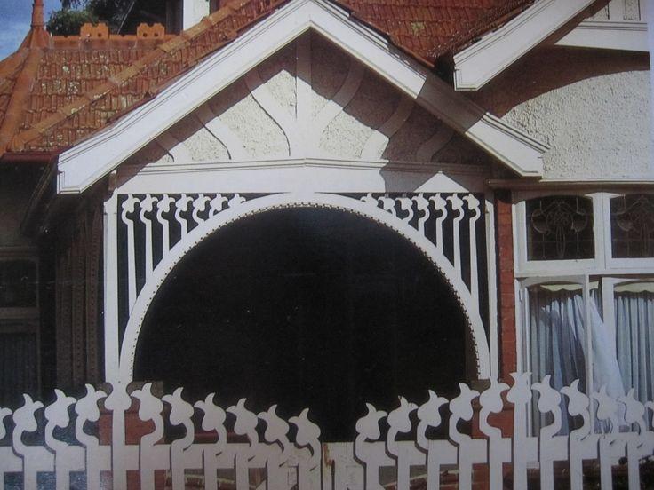 Art Nouveau timberwork, Fed house in St.Kilda, Melbourne.